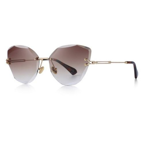 Brown Polycarbonate Funky Rimless Cat Eye Sunglasses - Side View