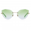 Green Polycarbonate Funky Rimless Cat Eye Sunglasses - Front View