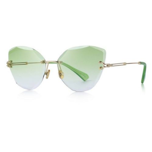 Green Polycarbonate Funky Rimless Cat Eye Sunglasses - Side View