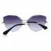Grey Polycarbonate Funky Rimless Cat Eye Sunglasses - Back View