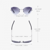 Grey Polycarbonate Funky Rimless Cat Eye Sunglasses - Dimension
