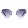 Grey Polycarbonate Funky Rimless Cat Eye Sunglasses - Front View
