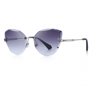 Grey Polycarbonate Funky Rimless Cat Eye Sunglasses - Side View
