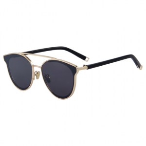 Polycarbonate Round Cat Eye Sunglasses - Black