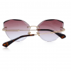 Red Polycarbonate Funky Rimless Cat Eye Sunglasses - Back View