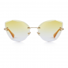 Yellow Polycarbonate Funky Rimless Cat Eye Sunglasses - Front View