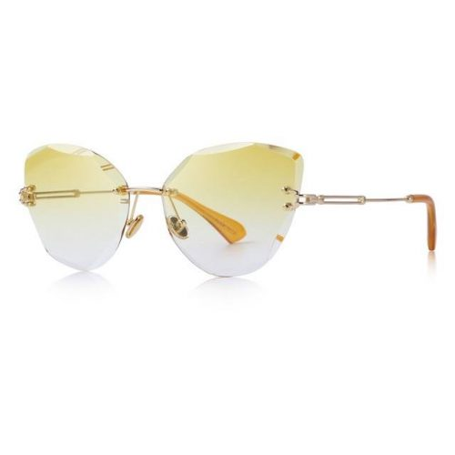 Yellow Polycarbonate Funky Rimless Cat Eye Sunglasses - Side View