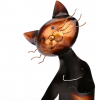 Chrome Plated Cat Wine Bottle Holder - Close Up Face View