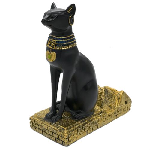 Resin Egyptian Cat Wine Bottle Holder - Side View