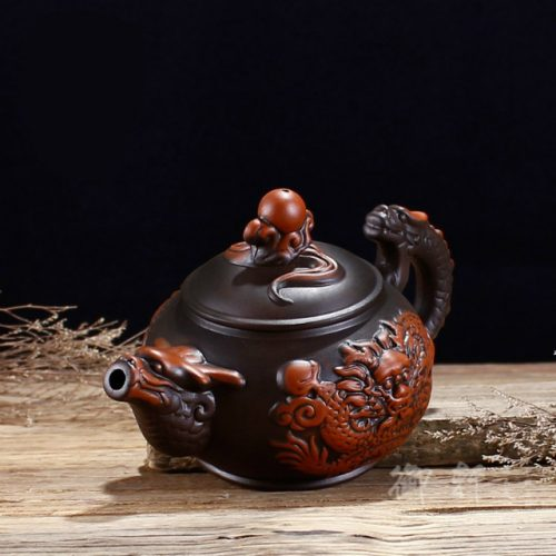 Dragon Art Classical Handmade Purple Clay Teapot - Front Display