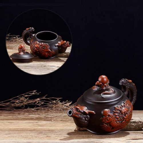 Dragon Art Classical Handmade Purple Clay Teapot - Front Side View Display