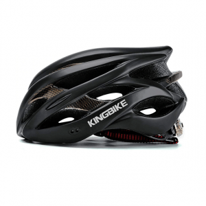 Ventilated Bicycle Helmet with Built in LED Light - Black