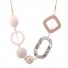 Geometric Shape Acrylic Statement Necklace - Pink