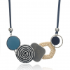Geometric Shape Bamboo Statement Necklace - Blue