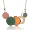 Geometric Shape Bamboo Statement Necklace - Pink